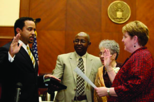 Kenyen Brown taking oath of office