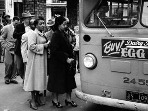 Rosa Parks Boards a Desegregated Bus