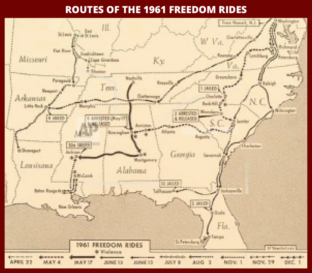 Map of Freedom Ride routes