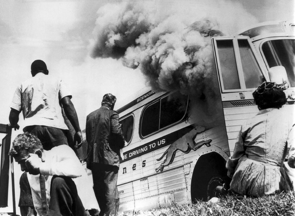 Greyhound bus set afire